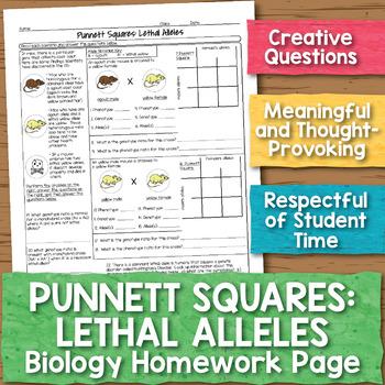 Punnett Squares with Lethal Alleles Biology Homework Worksheet