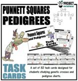 Genetics - Punnett Squares and Pedigrees Task Cards