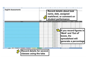 Pupil Assessment Log (MS Excel Markbook)