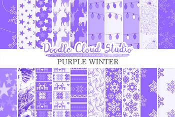 Puple Winter digital paper, Christmas Holiday Violet Lilac Lavender patterns