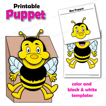 image about Bee Template Printable identified as Bee Craft Game Printable Paper Bag Puppet Template