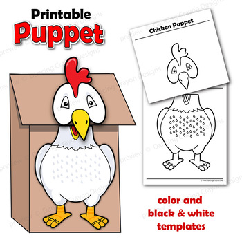 photograph regarding Printable Paper Bag Puppets called Chook Puppet Printable Paper Bag Puppet Template
