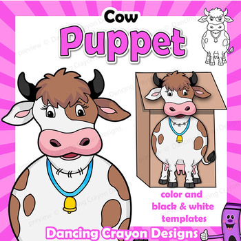 puppet cow craft activity printable paper bag puppet template tpt