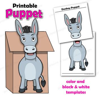 Puppet Donkey Craft Printable Paper Bag Template Tpt Rh Teacherspayteachers Com Tail