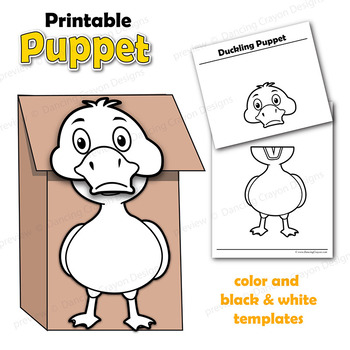 image relating to Printable Duck titled Puppet Duck Craft Match Printable Paper Bag Puppet