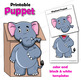 Puppet Elephant Craft Activity | Printable Paper Bag Puppet Template