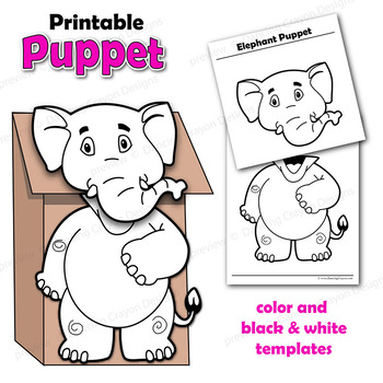 image relating to Printable Paper Bag Puppets called Puppet Elephant Craft Video game Printable Paper Bag Puppet Template