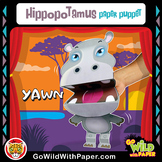Puppet Hippo Craft Activity | Printable Hippopotamus Puppet