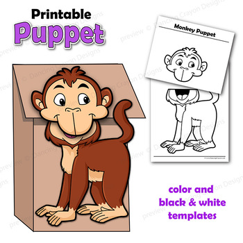 Puppet Monkey Craft Activity | Paper Bag Puppet Template
