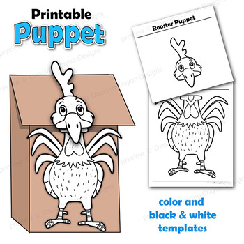 graphic regarding Rooster Template Printable titled Puppet Chicken Craft Recreation Printable Paper Bag Puppet Template