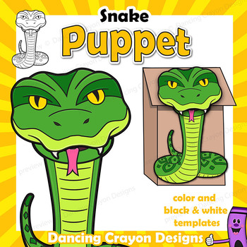 Puppet Snake Craft Activity | Printable Paper Bag Puppet