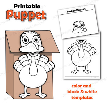 picture regarding Printable Paper Bag Puppets called Puppet Turkey Craft Match Printable Paper Bag Puppet Template