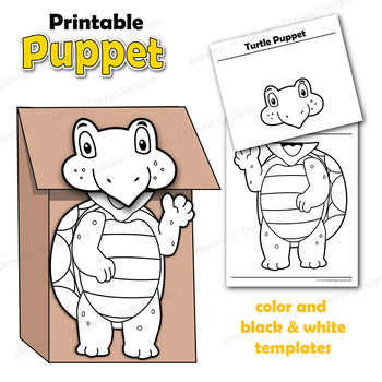 graphic about Turtle Templates Printable named Puppet Turtle Craft Recreation Printable Paper Bag Puppet Template