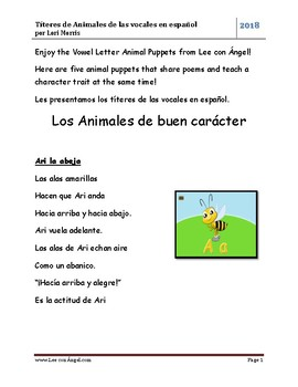 Puppets = Títeres for Spanish Vowel Animals & Poems