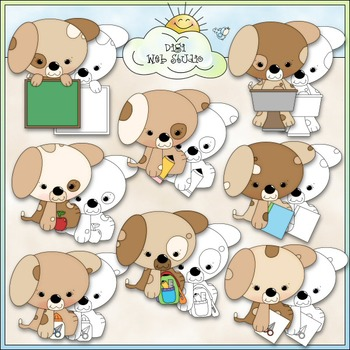 Puppies Go To School Clip Art - School Supplies Clip Art - CU Clip Art & B&W