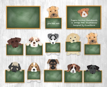Puppies Holding Signs Clip Art, 11 Illustrations of Puppies Holding Chalkboards