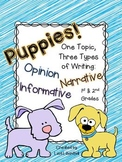 Common Core Writing: One Topic, Three Types of Writing {Puppies!}