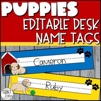 Editable Dog Themed Student Desk Name Plates