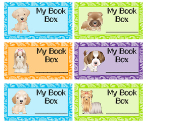 Puppies and Paisley Book Box Labels