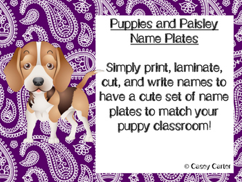 Puppies and Paisley Name Plates FREEBIE