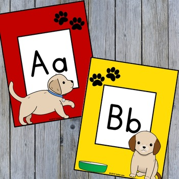Dog Themed Classroom Alphabet and Number Cards