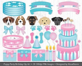 Puppy Birthday Party Clip Art - 28 Hand Drawn Pink & Blue Polkadot Illustrations