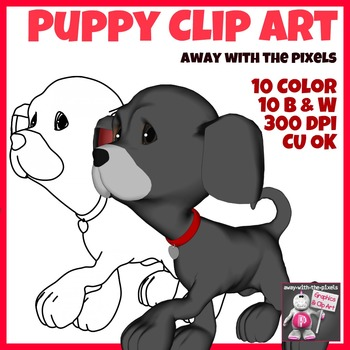 Puppy Clip Art - 10 Color and 10 Black and White Clipart Images