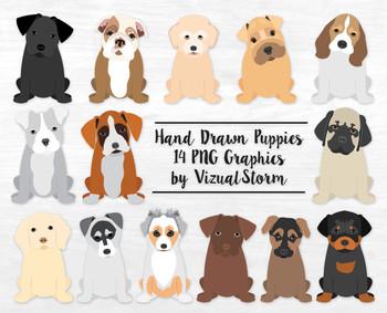 Cute Puppy Clip Art -12 Hand Drawn Puppies - Popular Dog Breed Illustrations