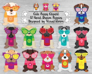 Cute Puppy Clip Art, 12 Hand Drawn Summer Beach Puppies in