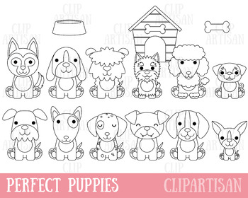 Puppy Dog Clipart, Digital Stamps