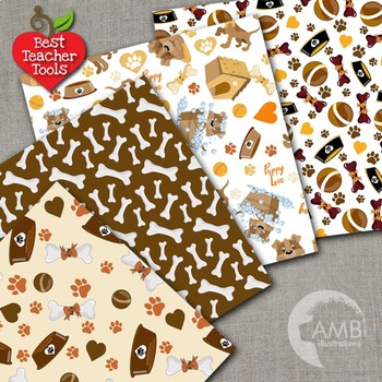 Puppy Dog Clipart and Papers Bundle, {Best Teacher Tools} AMB-1688