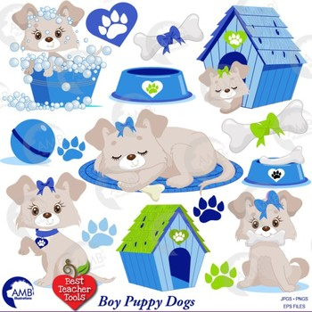 Puppy Dog Clipart and Papers Bundle in Blue, {Best Teacher Tools} AMB-1735