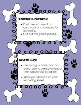 Puppy Dog Equal Equations Match-Up