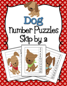 Puppy Dog Number Counting Strip Puzzles - Skip by 2