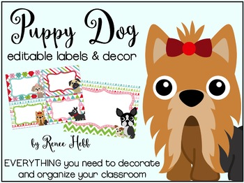 Puppy Dog Organizational Labels, Decor, and Banners