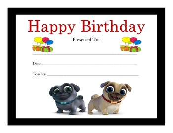 Puppy Dog Pals Birthday Certificates (Includes 6 Certificates)