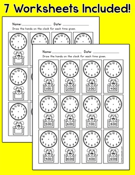 Telling Time Clock Labels - Puppy Dog Theme Classroom Decor
