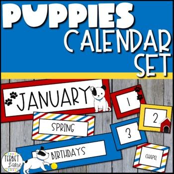 Puppy Dog Themed Bulletin Board Pocket Calendar Set