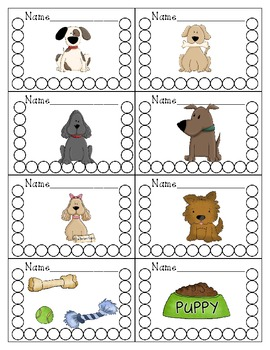 Puppy Dog Themed Punch Cards