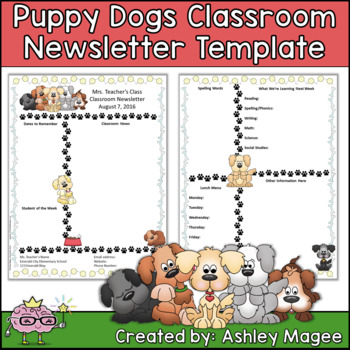 Puppy Dogs Editable Classroom Newsletter Template