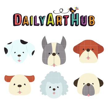 Puppy Heads Clip Art - Great for Art Class Projects!