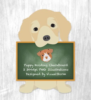 Puppy Dog Holding Sign Clip Art - Chalkboard and Golden Re