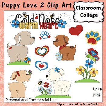 Puppy Love 2 Clip Art - Color - personal & commercial use