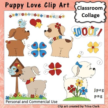 Puppy Love Clip Art - Color - personal & commercial use