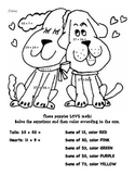 Puppy Love! -- Color by Number addition w/ regrouping