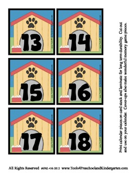 Puppy Love - Dog Themed Calendar Cover-Ups Memory game Pieces - Preschool