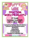 Puppy Love Fraction Word Problems - 3rd Grade Common Core Math - 3.NF.1,2,3