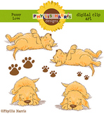 Puppy Love - Golden Retriever Puppies Clip Art