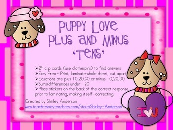 Puppy Love- Plus and Minus Tens- Clothespin cards