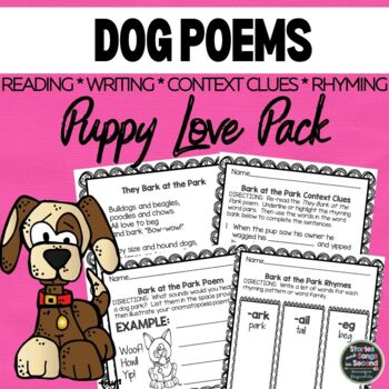 Puppy Love Poetry Pack--Reading Fluency, Rhyming, and Writing Activities